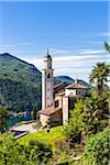 Parish Church of Santi Fedele and Simone di Vico Morcote, high above Lago Lugano in Spring, Vico Morcote, Lugano, Ticino, Switzerland