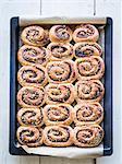 Freshly baked cinnamon rolls on a baking tray