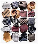 Variety of Colorful Neckties in Rolls, Studio Shot