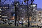 Boston Common and Tremont Street on New Year's eve at dusk, Boston, Massachusetts, USA