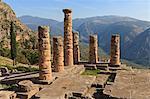Temple of Apollo, Delphi, UNESCO World Heritage Site, Peloponnese, Greece, Europe