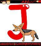 Cartoon Illustration of Capital Letter J from Alphabet with Jackal Animal for Children Education