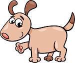 Cartoon Illustration of Cute Little Dog or Puppy