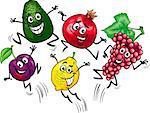 Cartoon Illustration of Happy Jumping Fruits Food Characters