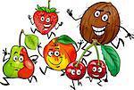 Cartoon Illustration of Happy Running Fruits Food Characters