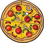 Cartoon Illustration of Italian Pizza Food Object