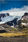 Scenic view of mountainside and glacier, Kviamyrarkambur, Iceland