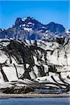 Close-up of glacier with moutains in background, Skaftafellsjokull, Skaftafell National Park, Iceland