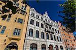 Facade of buidlings in the National Romantic style along Fabiansgatan, Design District Helsinki, Helsinki, Finland
