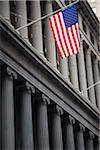 American Flag on Wall Street, Lower Manhattan, New York City, New York, USA