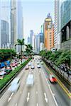 Traffic on Connaught Road, Central District, Hong Kong Island, Hong Kong, China