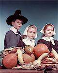 1950s 3 CHILDREN DRESSED IN PURITAN PILGRIMS COSTUMES