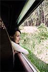 Female tourist on train between Kandy and Nuwara Eliya, Sri Lanka