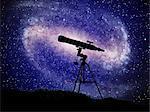 Silhouette of telescope at night, computer artwork.