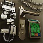 Door with various locks, conceptual artwork,