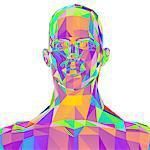 Geometric abstract polygonal male head, computer artwork.