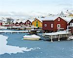 Buildings at winter harbor, Halleviksstrand, Bohuslan, Sweden