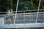 Young women running, Uppsala, Sweden