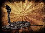 Illustration of 3d cobra snake on grunge background.
