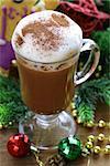 festive drink (chocolate, cocoa, coffee) with milk foam, Christmas Still Life