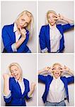 Young woman having fun in photo booth