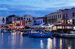 Old Venetian harbour, taverns on seaside, Rethymno, Rethymnon, Crete, Greek Islands, Greece, Europe