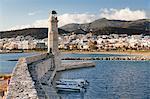 Lighthouse at old Venetian harbour, Rethymno (Rethymnon), Crete, Greek Islands, Greece, Europe
