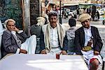 Men drinking tea in the Old Town, UNESCO World Heritage Site, Sanaa, Yemen, Middle East