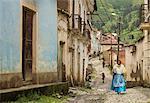 Traditional cobbled street in Sorata, Cordillera Real, Bolivia, South America