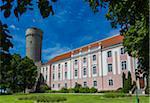 Pikk Hermann (or Tall Hermann) tower beside the Estonian Parliament Building (Riigikogu) Tallinn, Estonia