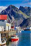 Fishing Boats at Dock, Henningsvaer, Austvagoya, Lofoten Archipelago, Norway