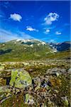 Lichen Covered Rocks Along Bjorgavegen Tourist Route from Aurland to Laerdal, Sogn og Fjordane, Norway