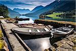 Boats at Dock, Lovatnet, Sogn og Fjordane, Norway