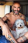 Mature man with dog