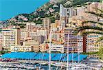 Amazing view of Monaco city. Preparation to Formula 1 Monaco Grand Prix