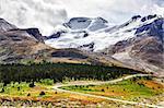 Landscape view of Columbia glacier in Jasper NP, Rocky Mountains, Canada