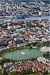 Aerial view of skyline showing Lille Lungegardsvannet, Bergen, Hordaland, Norway