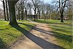 Path through Park in Spring, Husum Schlosspark, Schleswig-Holstein, Germany