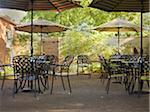 Outdoor Cafe Patio with Tables, Chairs and Umbrellas, Dundas, Ontario, Canada