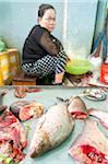 Fish seller at market, Phnom Penh, Cambodia, Indochina, Southeast Asia, Asia