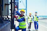 Worker climbing cargo crane