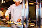 Chef preparing fancy meal in kitchen