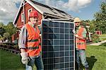 Solar panel delivery house workmen garden