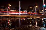 Traffic light trails on street at night