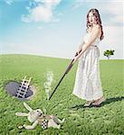 Alice kills white rabbit. Creative concept/  Photo and cg elements combinated