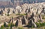 Spectacular teeth-like rock formation and old christian caves near Goreme, Cappadocia, Turkey