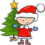 Cartoon Illustration of Santa Claus Boy Character with Christmas Tree