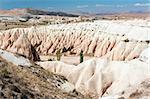 Vivid rock formations from above in Cappadocia, Turkey