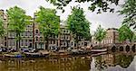typical amsterdam scene: bike, bridge, canal, boats