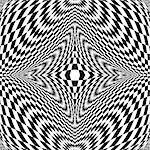 Design monochrome illusion checkered background. Abstract distortion backdrop. Vector-art illustration